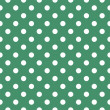 Retro seamless vector texture or pattern with white polka dots on bottle green background — Vettoriali Stock