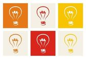 Light bulb vector colorful icon set sign of creative invention — Stock Vector