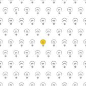 Vector seamless pattern texture background with light bulbs on white — Stock Vector