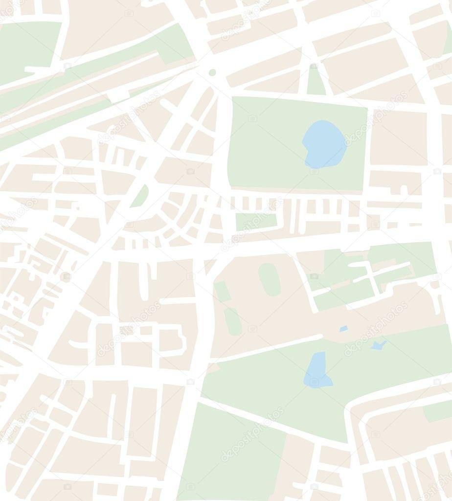 与街道, 公园和池塘抽象城市地图矢量图