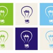 Vector colorful icon set with light bulbs -s ign of creative invention — Stock Vector #13885797
