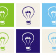 Vector colorful icon set with light bulbs -s ign of creative invention — Stock Vector