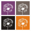 Dandelion silhouette vector icon, logo or button - symbol of autumn — Stock Vector