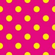 Seamless vector pattern with neon yellow polka dots on pink background — Stock Vector