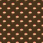 シームレスなベクター パターン、テクスチャ、または甘いマフィン カップケーキと背景 — ストックベクタ