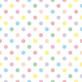 Seamless vector pattern texture with colorful polka dots on white background — Vettoriale Stock
