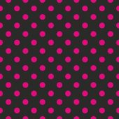 Seamless vector pattern with neon pink polka dots on black background — Stock Vector