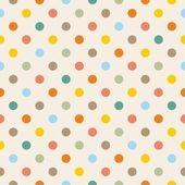Seamless vector pattern or texture with colorful yellow, orange, pink, green and blue polka dots on beige background — Stock Vector