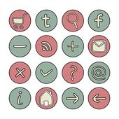 Icons or web buttons set - doodle hand drawn illustration — ストックベクタ