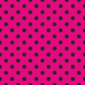 Seamless vector pattern with black polka dots on neon pink background — Stock vektor