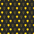 Seamless vector pattern, texture or background with light bulbs turn on and off on black — Stock Vector
