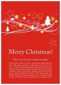 Christmas vector card or invitation for party with Merry Christmas wishes — Stock Vector