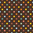 Seamless pattern or texture with colorful polka dots on dark brown background — Imagen vectorial
