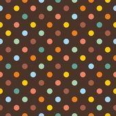 Naadloze patroon of textuur met kleurrijke polka dots op donkere bruine achtergrond — Stockvector