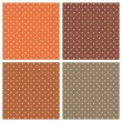 Set with vector seamless patterns or textures with white polka dots on dark and light brown background — 图库矢量图片