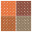 Set with vector seamless patterns or textures with white polka dots on dark and light brown background — Imagen vectorial