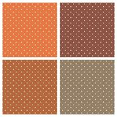 Set with vector seamless patterns or textures with white polka dots on dark and light brown background — Stock Vector