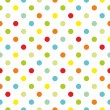 Seamless vector pattern or texture with colorful polka dots on white background — Stock Vector