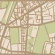 Abstract vector city map with brown streets, beige buildings and green park — Stock Vector