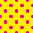 Stock Vector: Seamless vector pattern or texture with neon pink polkdots on sunny yellow background