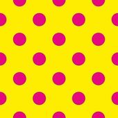 Seamless vector pattern or texture with neon pink polka dots on sunny yellow background — Stock Vector