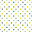 Stock Vector: Seamless spring pattern or texture with colorful polkdots on white background