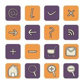 Vector web tools violet and orange - symbols icon button set — Vector de stock