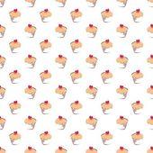 无缝矢量花纹或纹理与蛋糕、 松饼、 香甜的月饼 — 图库矢量图片