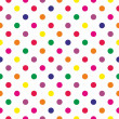 Seamless neon colorful polka dots vector pattern or texture — Stock Vector