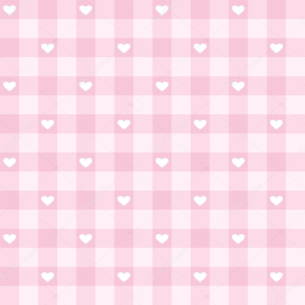 Seamless sweet baby pink valentines background - vector checkered pattern or grid texture with white hearts full of love for web design, desktop wallpaper or culinary blog website — Stock Vector #19189415