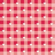 Stock Vector: Seamless sweet red valentines vector background - checkered pattern or grid texture with white hearts full of love