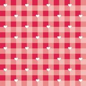 Seamless sweet red valentines vector background - checkered pattern or grid texture with white hearts full of love — Stock Vector