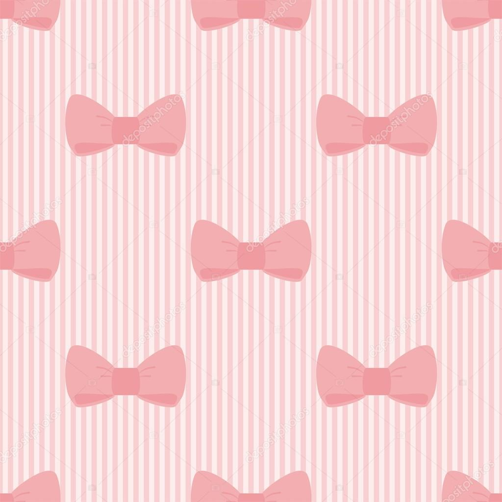 Seamless vector pattern with sweet bows on a pastel pink strips