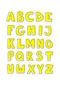 Gelbe kinder vektor hand gezeichneten buchstaben — Stockvektor