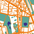 Abstract vector city map with orange streets, buildings, green park and dark blue ponds. Simply draft pop art town plan illustration  — Stock Vector