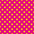 Seamless vector pattern or texture with yellow polka dots on neon pink background. For cards, invitations, websites, desktop, baby shower card background, party, web design, arts and scrapbooks. — Stock Vector #24433265