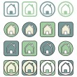 Home icon vector set. House in different shapes isolated on white background. Real estate sign or symbol  — Stock Vector