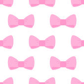 Seamless vector pattern with pink bows on a white background. — Stock Vector
