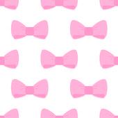 白地にピンクの弓とのシームレスなベクター パターン. — ストックベクタ