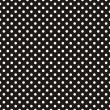 Stock Vector: Seamless vector dark pattern with white polka dots on black background.