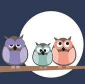Funny, staring owls sitting on branch on a full mon night - vector illustration isolated on white background. Cute, cartoon symbol of wisdom. — Stock Vector