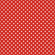 Retro seamless vector pattern with small white polka dots on red background — Stock vektor