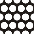 Seamless vector dark pattern with huge white polka dots on black background. — Stock Vector