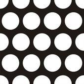 Modello scuro di vettore senza soluzione di continuità con enorme pois bianchi su sfondo nero. — Vettoriale Stock