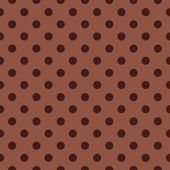 Seamless vector pattern with dark brown polka dots on a chocolate brown background. — Stock Vector