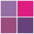 Set of sweet vector seamless patterns or textures with white polka dots on pastel, colorful pink, purple and violet background — Stockvektor