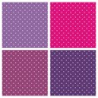 Set of sweet vector seamless patterns or textures with white polka dots on pastel, colorful pink, purple and violet background — Stock Vector