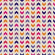 Aztec Chevron seamless colorful vector pattern, texture or background with zigzag stripes in pink, violet, blue and orange color. — Vector de stock