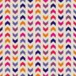 Aztec Chevron nahtlose bunte Vektor-Muster, Textur oder Hintergrund mit Zick-Zack-Streifen in Rosa, violett, blau und orange Farbe — Stockvektor