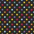 Seamless vector dark pattern or texture with colorful yellow, orange, red, violet, green and blue polka dots on black background — Imagen vectorial